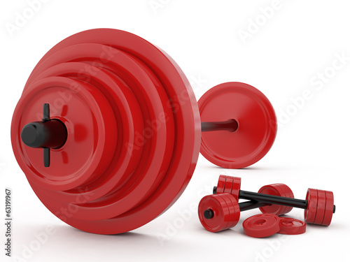 Weight and pair of dumbbells, 3D