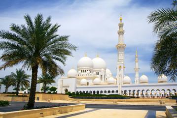 The United Arab Emirates. Abu Dhabi. White mosque.