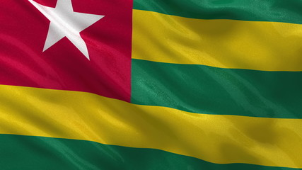 Flag of Togo waving in the wind - seamless loop