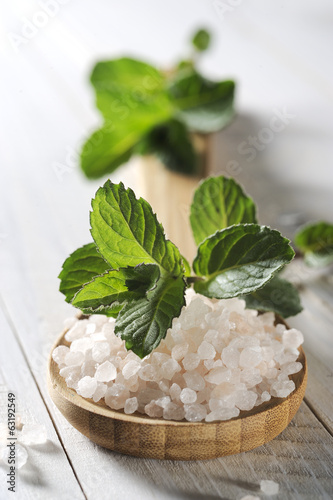 sea salt  on a wooden table close up