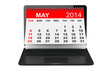 May calendar over laptop screen