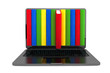 E-learning concept. Laptop with colorful books