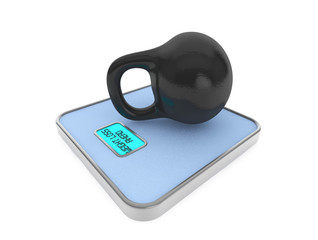 Kettlebell on Digital Bathroom Weight Scale
