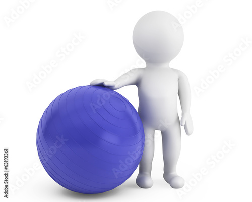 3d person with pilates exercise ball