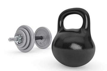 Fitness concept. Kettlebell and dumbbell