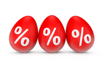 Three Easter Eggs with percent sign