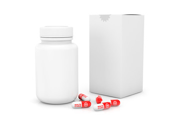 Blank medicine bottle with box and pills