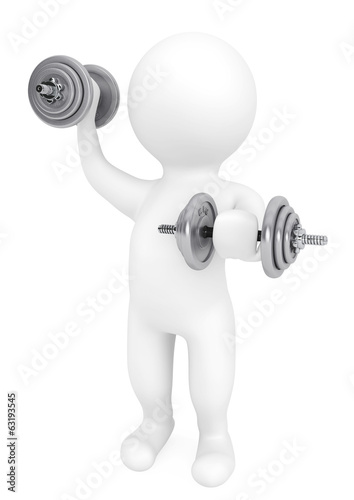 Fitness concept. 3d person with dumbbells