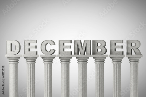 December month sign on a classic columns