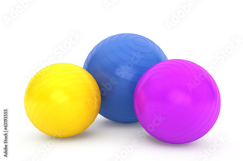 Three Colorful fitness balls