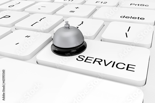 Extreme closeup Service Bell on a keyboard