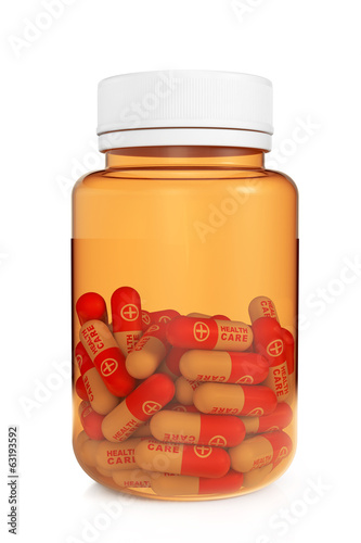 Health Care Concept. Medical Bottle with pills
