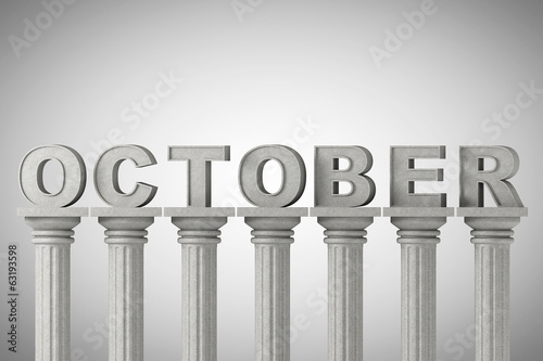 October month sign on a classic columns