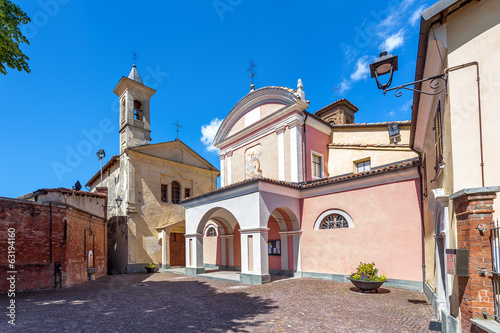 Churches on town square in Barolo.