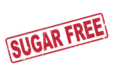 stamp sugar free with red text on white