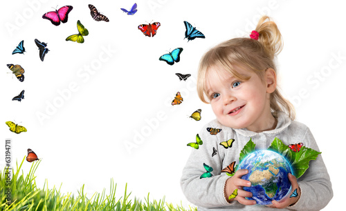environment concept, child holding earth with flying butterflies