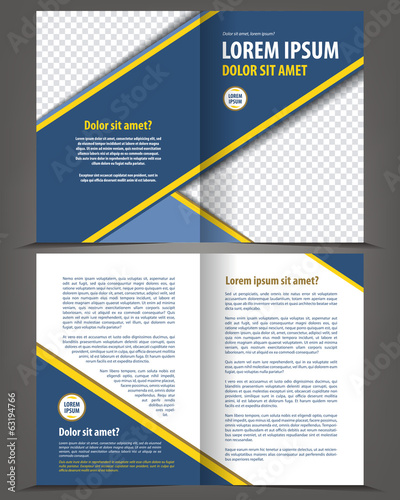 Vector empty bi-fold brochure print template blue design