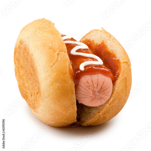 Isolated image of a hot dog closeup