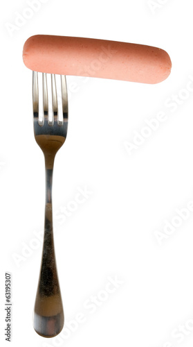 image of sausage on a fork on a white background