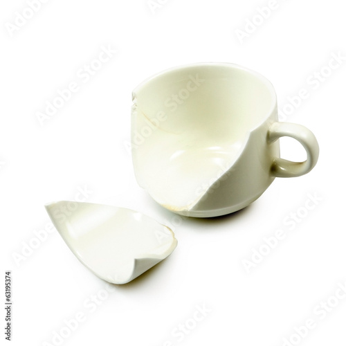 Isolated image of the broken cup on white background