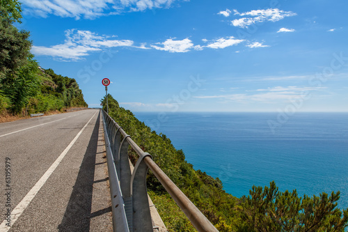 Road along Mediterranean sea coastline in Italy.