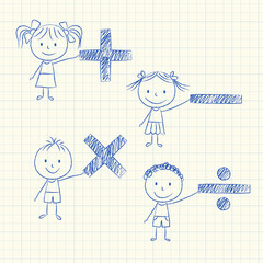 Kids with mathematical signs