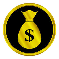 Gold money sign button