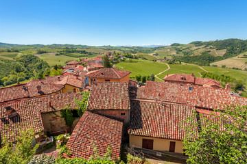 Red roofs and green hills in Piedmont, Italy.