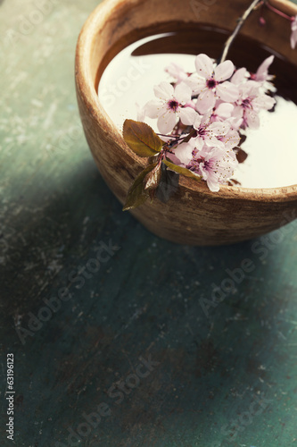 spring flowers in wooden bowl