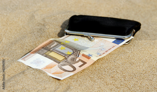 Wallet on the sand.