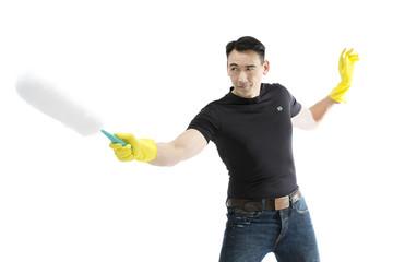 Hausmann dueliert sich mit dem Staubwedel
