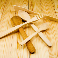 image of of wooden kitchen utensils