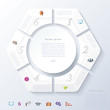 Abstract infographic design with white circle and six segments.