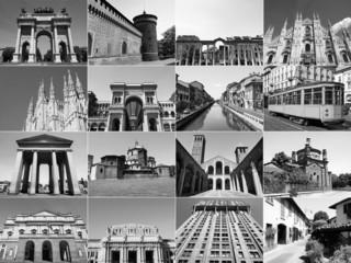 Retro look Milan landmarks