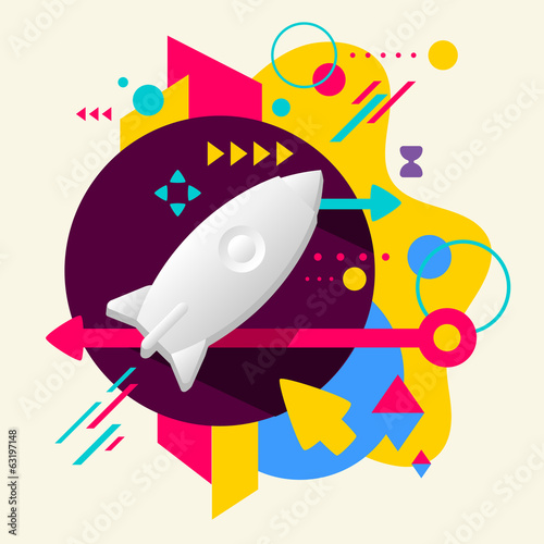 Rocket on abstract colorful spotted background with different el