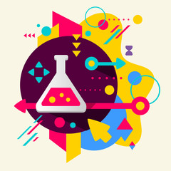 Laboratory flask on abstract colorful spotted background with di
