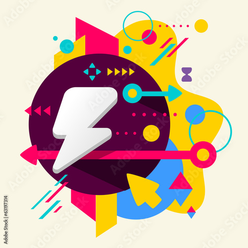 Lightning on abstract colorful spotted background with different