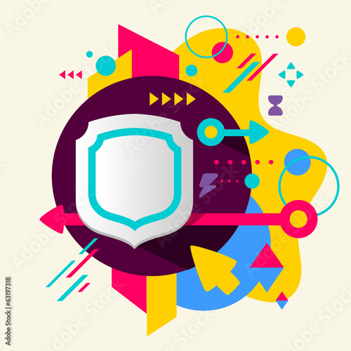 Shield on abstract colorful spotted background with different el