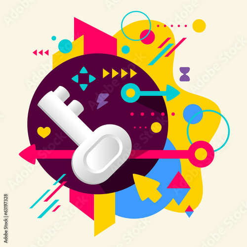 Key on abstract colorful spotted background with different eleme