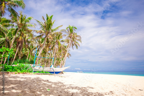 Coconut Palm trees on white sandy beach at desert island