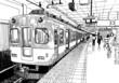 Leinwanddruck Bild - Japan metro train station platform in Osaka drawing ink sketch s