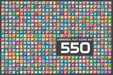 550 Universal flat color circles icons set