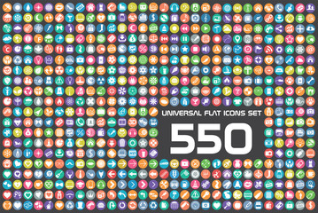 550 Universal flat color icons set
