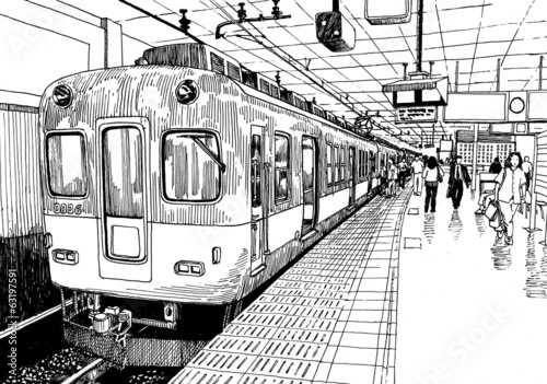 Poster Treinstation Japan metro train station platform in Osaka drawing ink sketch s