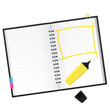 Scrapbook with yellow text marker Vector Illustration