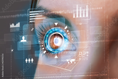 Fototapeta Future woman with cyber technology eye panel concept