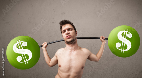 skinny guy lifting green dollar sign weights