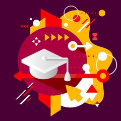 Academic hat on abstract dark colorful spotted background with d
