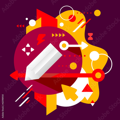Pencil on abstract dark colorful spotted background with differe
