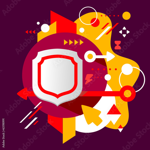 Shield on abstract dark colorful spotted background with differe